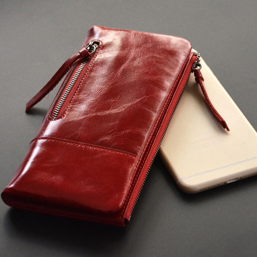 Новый старинные длинный кошелек из натуральной