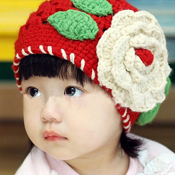 1-2 Years Baby Girls Beanie Red Knit Hat Crochet Popular Hollow Design Cap Tap(China (Mainland))
