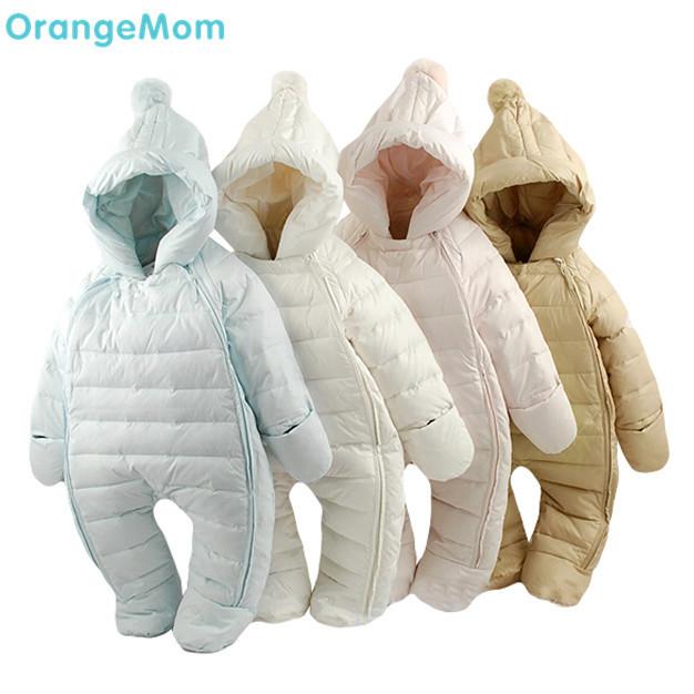 Горячая продажа! 2016 Детские тепловые комбинезоны Зима jecket snowsuit утка вниз комбинезон outerward платье, малыш мальчик зимнее пальто