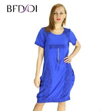 BFDADI 2016 новинка женское платья твин карманы с коротким рукавом женское летнее платье Большой размер бесплатная доставка 2151(China (Mainland))