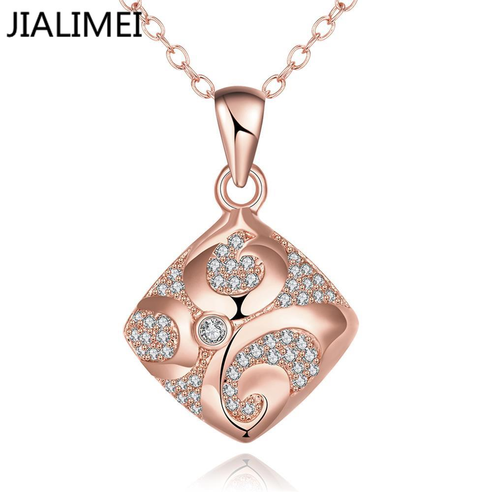 Hot Sell 18K Real Gold/Gold Plated Necklaces Pendants with High Quality Cubic Zircon For Women Birthday Gift N004-B(China (Mainland))