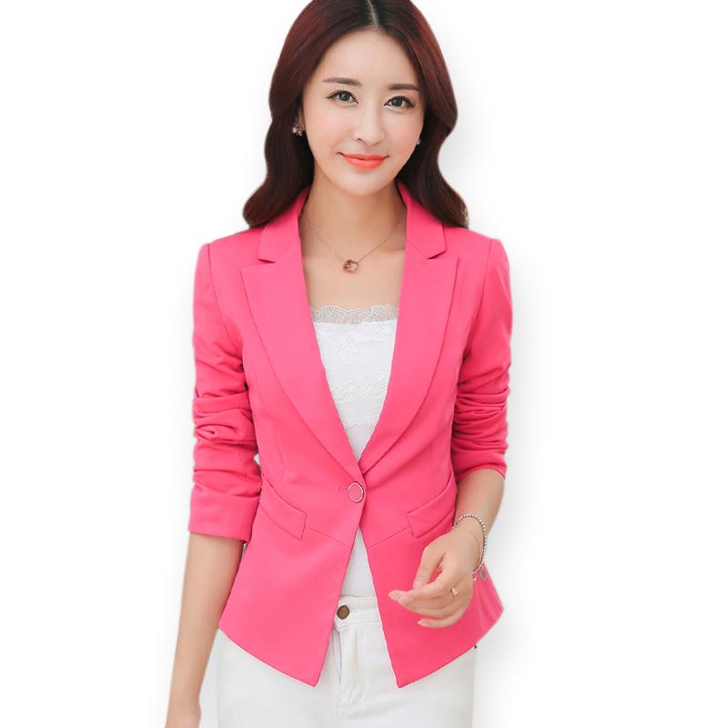 151c3e2871a Candy Color Black Pink Single Button Blazer Women Autumn Long Sleeve Blazers  2015 Ladies Formal Office Suits Slim Coat Outwear