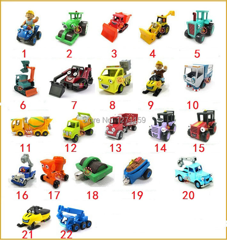 5Pcs/Lot Bob the Builder toy car alloy engineering alloys car model car classic collection Hot Goods Free shipping(China (Mainland))