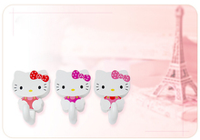 2X Cute Kawaii Hello Kitty Strong Adhensive Stick Hook Clothes Hanger Household Home Decor Bedroom Bathroom Kitchen Accessories(China (Mainland))