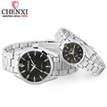 CHENXI Brand Fashion Luxury Quartz Lover Couple Watch Classic Simple Silver Stainless Steel Men and Women