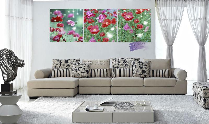 Moderno grande sala decoração da parede arte imagem de impressão verde rosa flor da papoila de milho pintura a óleo(China (Mainland))