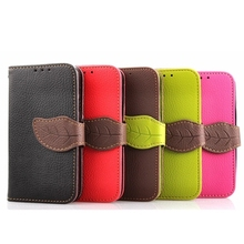 Leaf Clasp PU Leather Case for Samsung S4 Mini Case I9190 with 2 Card Holders Wallet Cover for Samsung Galaxy S4 Mini Case(China (Mainland))