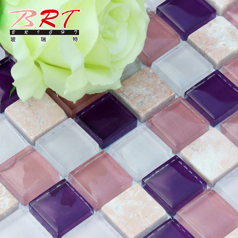 Reiter purple glass mosaic glass tile bathroom tile for Purple glass bathtub