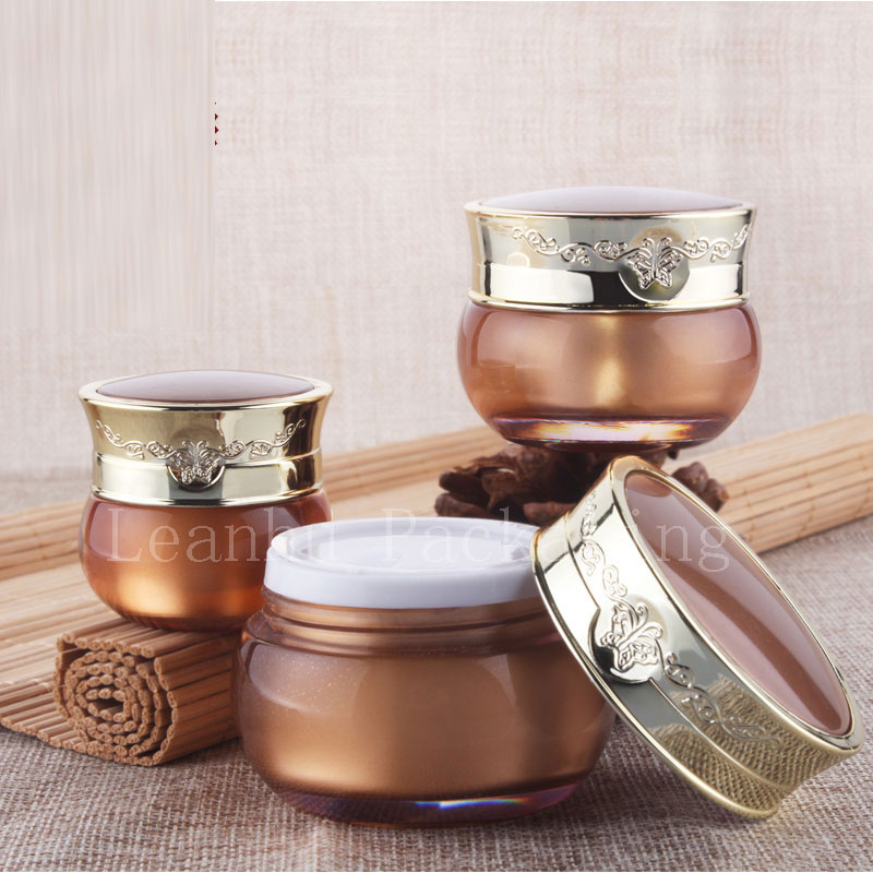 10 g luxury empty gold cosmetic plastic packaging container with screw cap, 10 ml personalized cream jars 1/3 oz acrylic bottle(China (Mainland))
