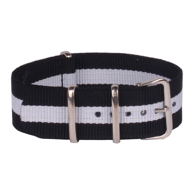 Retro Fashion Black white 22mm Army Military Bracelet Nato watch strap belt Nylon Woven Fiber watchband