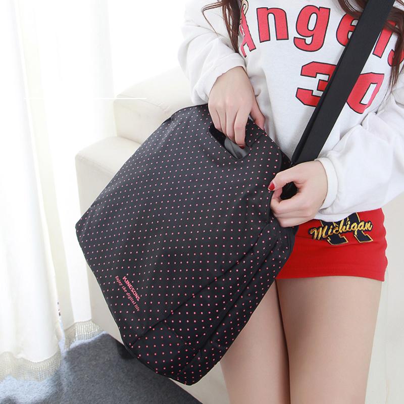 Cute Dots Laptop Bag 13 14.5 Inch Nylon Airbag Women Girl Computer Bags Fashion Handbags Women Shoulder Messenger Notebook Bag(China (Mainland))