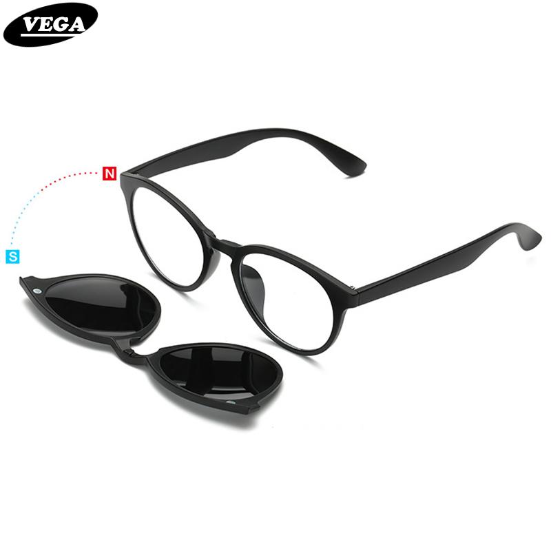 VEGA Polarized Clip On Sunglasses For Eye Glasses Frames Eyeglasses With Clip On Sunglasses Magnetic Glasses Men Women 956(China (Mainland))