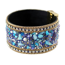 FUYA New Fashion Jewelry Woman Bangle Bracelet,Magnetic clasp High-grade Leather Crystal Stones Accessories(China (Mainland))