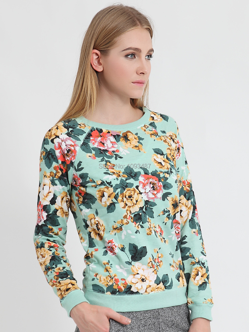 Harbeth 2015New Spring autumn women sweatshirts floral pullover casual hoodies cotton Terry printed O neck long