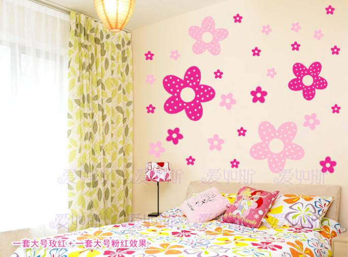 2016 hot sale wall decor poster princess girl bedroom wall stickers children cute flowers home for Stickers para dormitorios
