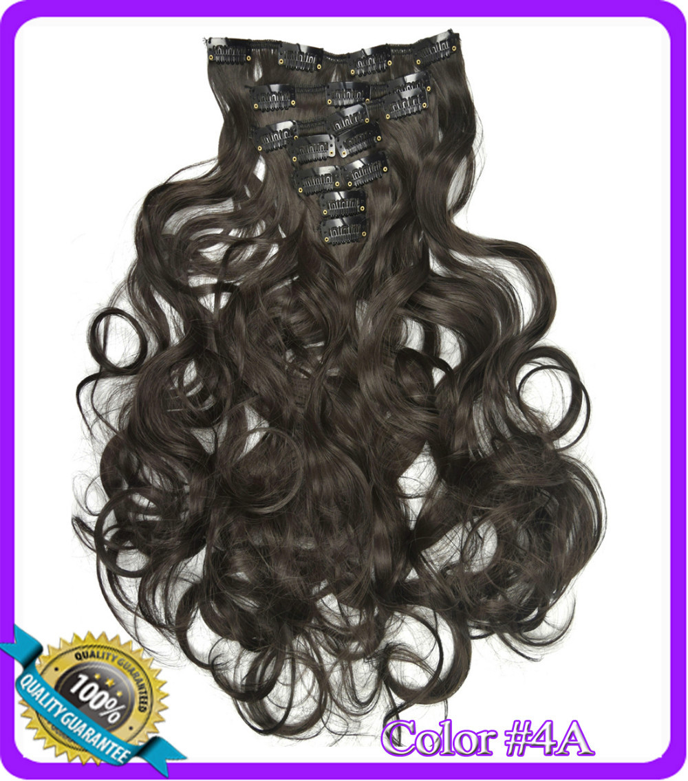 20(50cm) 130g body wavy clip in  hair extensions 7pcs/set hot resistant synthetic hair Color #4A Dark Brown<br><br>Aliexpress