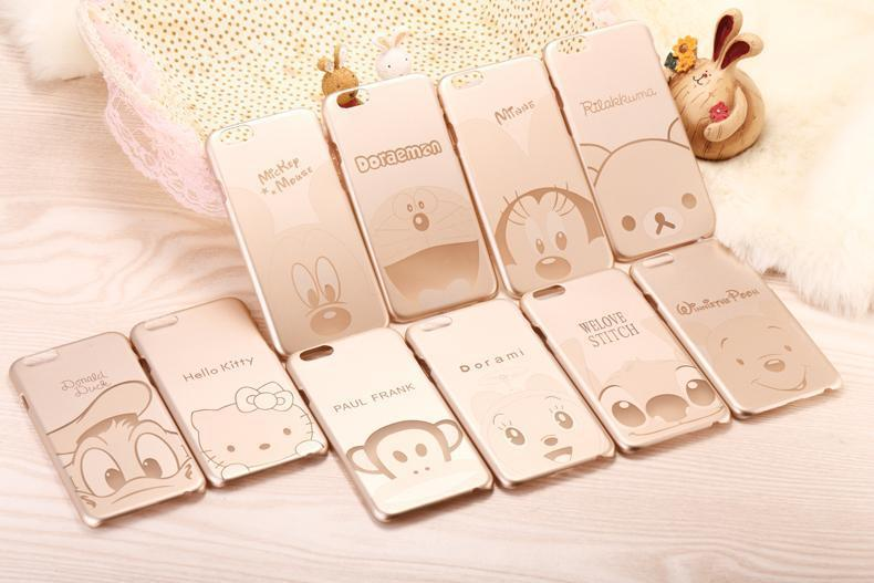 0.5mm thin Kawaii Cartoon hello kitty Mickey Luxury Gold Color PC Case Cases Back Cover for Apple iphone 5 5s(China (Mainland))