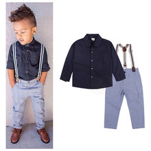 2016 new Boys Clothing Gentleman Sets Handsome Denim Children shirt + pants /set kids baby Children suits Kid Clothes