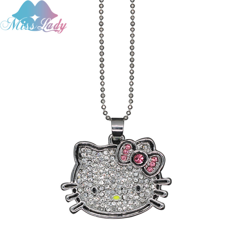 Miss Lady Pendant Necklace White Gold Plated Korea Crystal Cute hello kitty fashion women cat Jewelry MLM03 - Show store