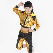 Children Hip Hop Performance Clothing Sets 2016 Boys Girls Jazz Modern Dance Costumes Kids Sequins Long Sleeve Dancewear Suits