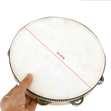 "10"" inch Musical Tambourine Tamborine Drum Round Percussion Gift for KTV Party Drumhead 25.5cm with Steel Wipes Wooden Ring (China (Mainland))"
