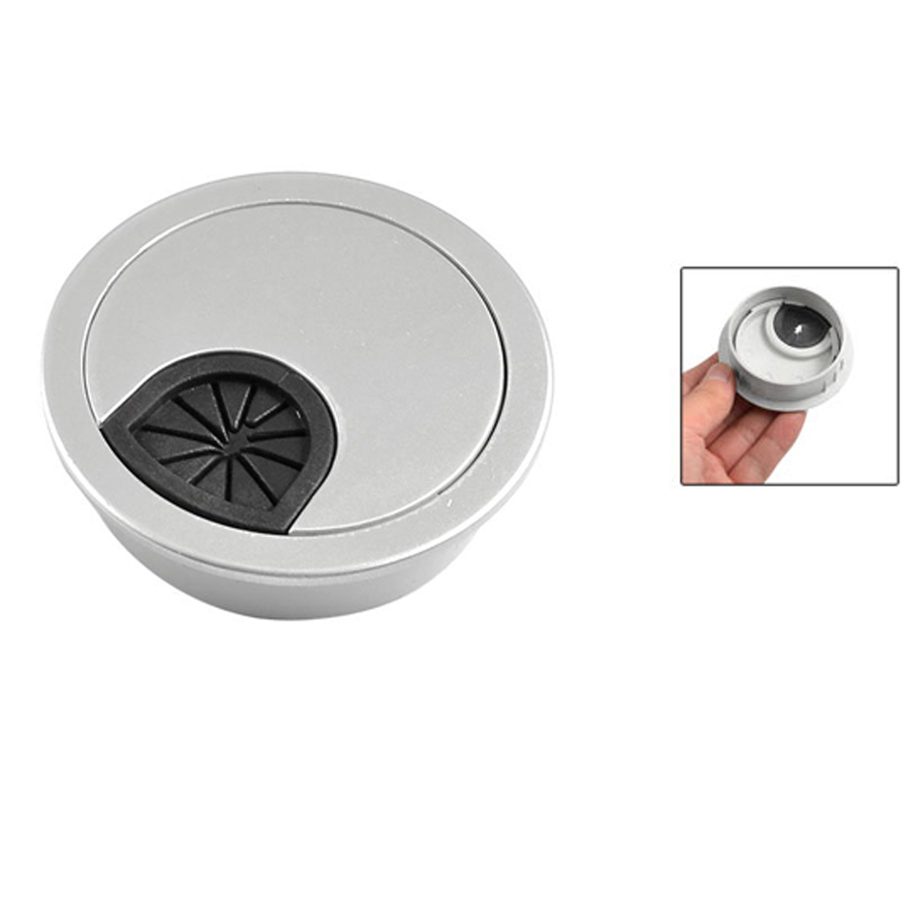 Гаджет  2015 Gift 4 Pcs Round Shape Silver Tone Plastic Desk Grommet Table Hole Cover None Аппаратные средства