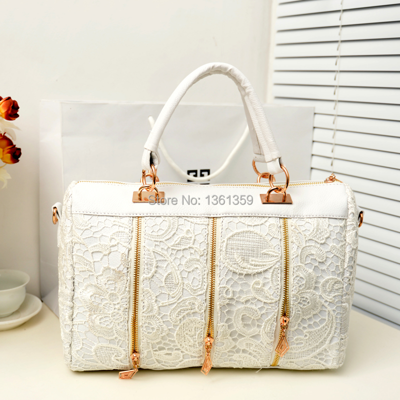 Solid color lace flower Portable women's handbag elegant one shoulder bag PU Leather Clutch Ladies Casual Messenger Tote Bag - wonderful Stayreal store