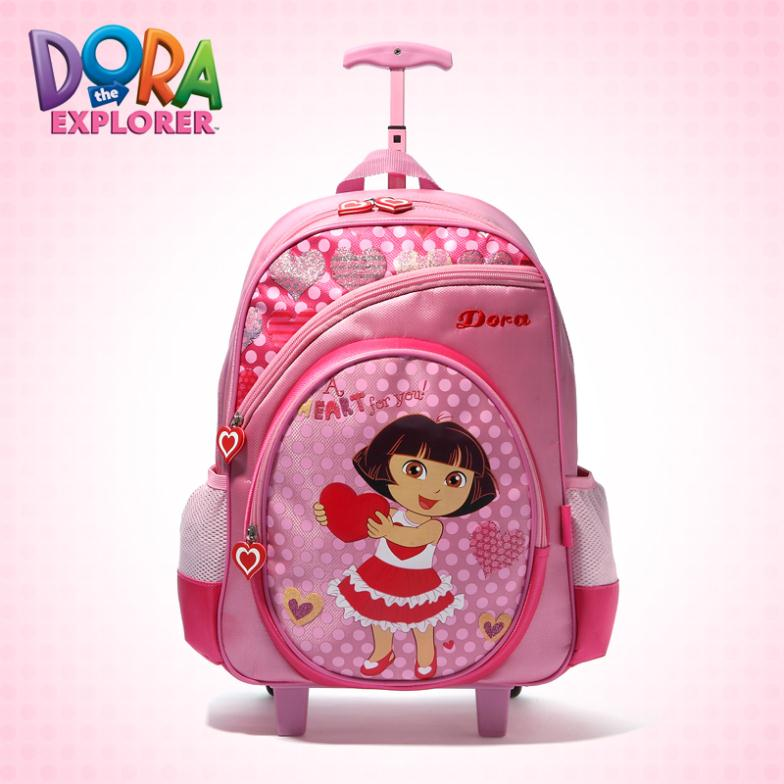 2013 Dora Explorer Children School Bags Trolley Luggage primary school students book bag girl PINK travel bags wheels - World store