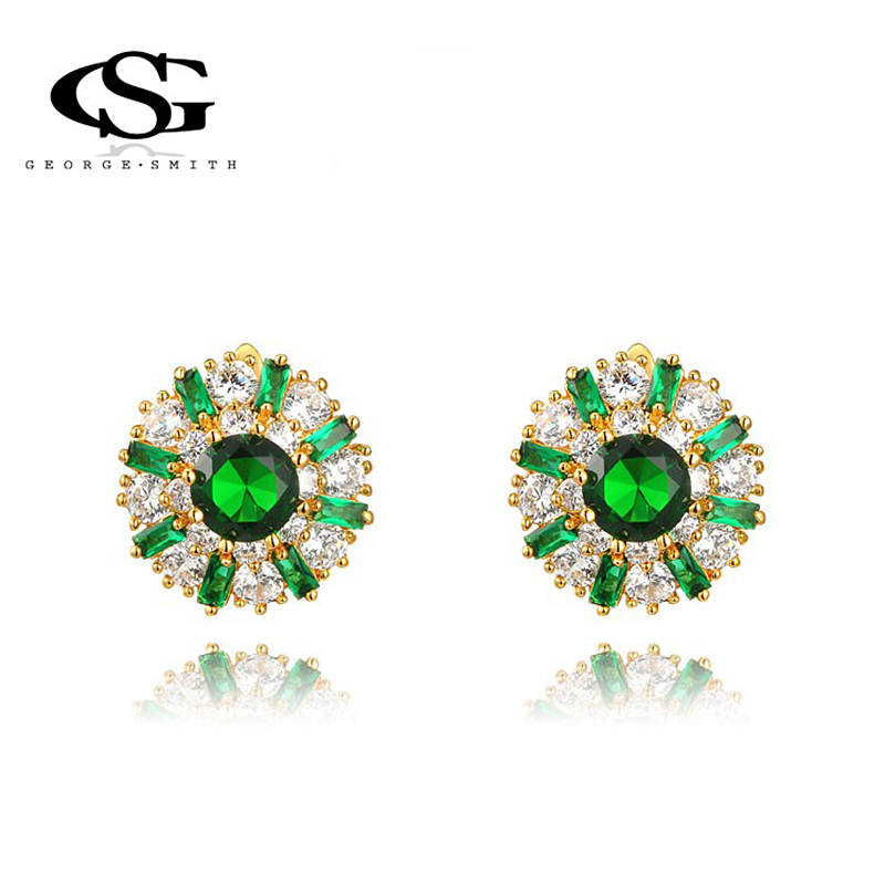 fashion G&S George Smith Women 18K Gold Plated Earrings Cubic Zirconia Mont Precious Srone women Stud Earring - GEORGE SMITH JEWELRY(Russia store)