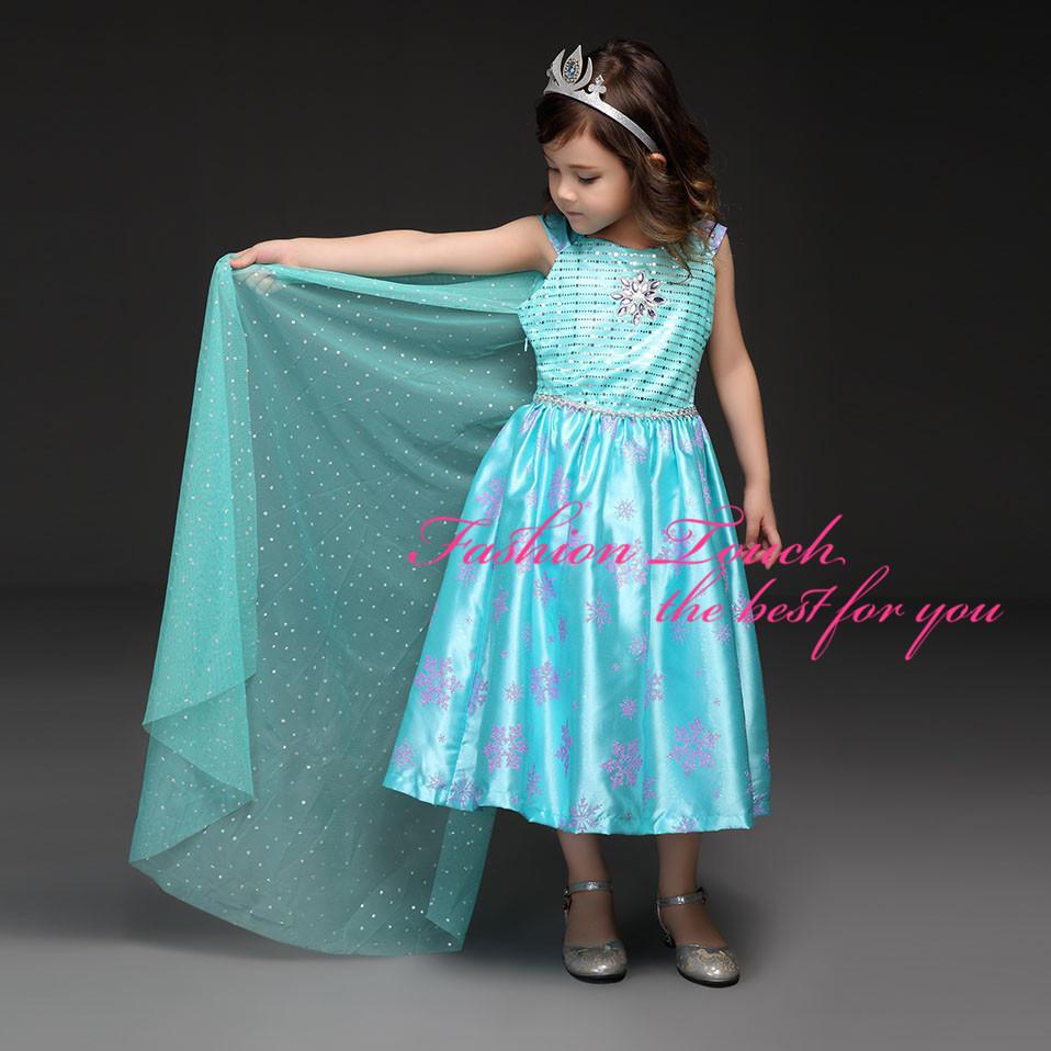 Dresses summer 2016 princess dress Elsa daughter Dot Cape Princess Snow Print Movie Cosplay Kids dresses girls - Fashion Touch store