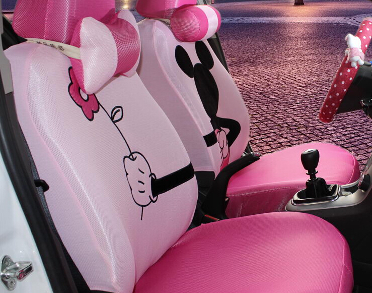 18pcs The new summer ice women cartoon Mickey Mouse car seat cover the four seasons general seat covers(China (Mainland))