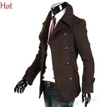 Men Korean Coats Male Double-Breasted Wool Jacket Woolen Jacket Black Brown Turn down Collar Simple Solid Coats Clothing 3309(China (Mainland))