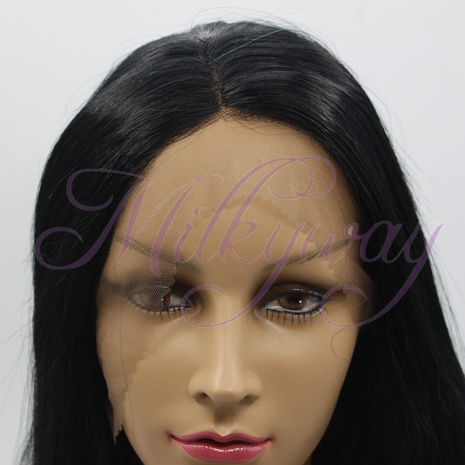 Free shipping black and green straight front lace blue ombre wig synthetic lace front wig
