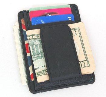 Мужская зажим для денег черный натуральная кожа передний карман зажим для денег магнит ...