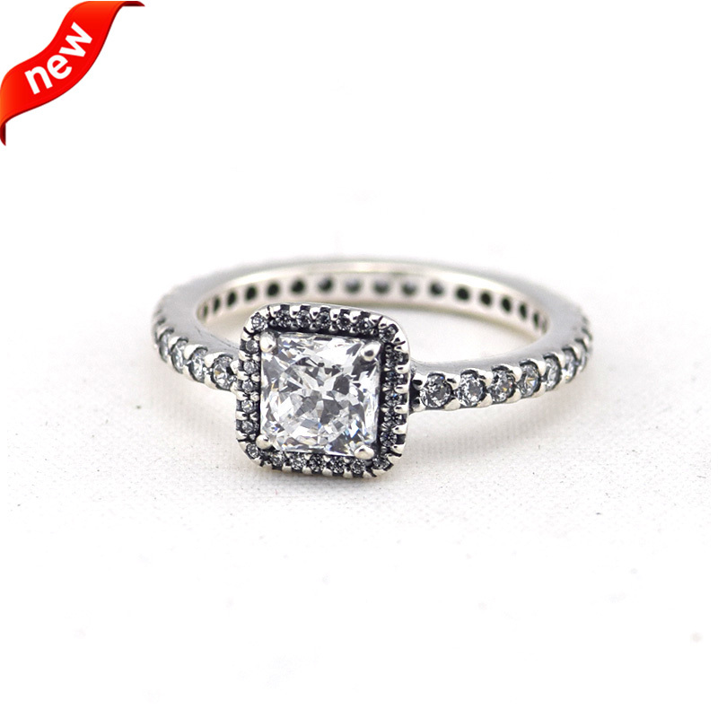 Compatible with Fandola Jewelry 100% 925 Sterling Silver Rings Timeless Elegance, Square, Clear CZ Original Authentic wholesale(China (Mainland))