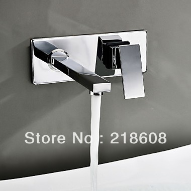 Фотография Square Wall Mounted Water Tap Bathroom Faucet Mixer