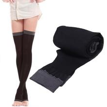 Breathable Lady Compression Knee Toe Fat Burn Leg Slim Varicose Veins Thigh High Stockings 2016 Hot Sale