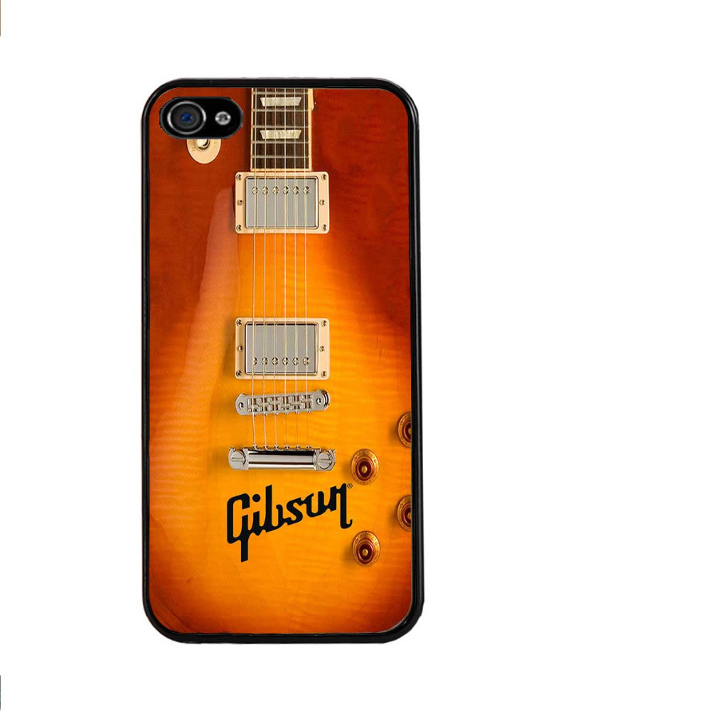 Wholesale and Retail Gibson Guitar American Music Les Paul Acoustic Sunburn Hard Case Cover for iphone 4/4s/5/5s/5c/6/6plus(China (Mainland))
