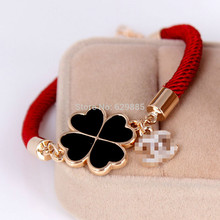 Women Fashion Red Black Rope Shine Crystal Clover Heart Flower Bracelet Charm Chain Letter Crystals Bracelets Jewelry(China (Mainland))