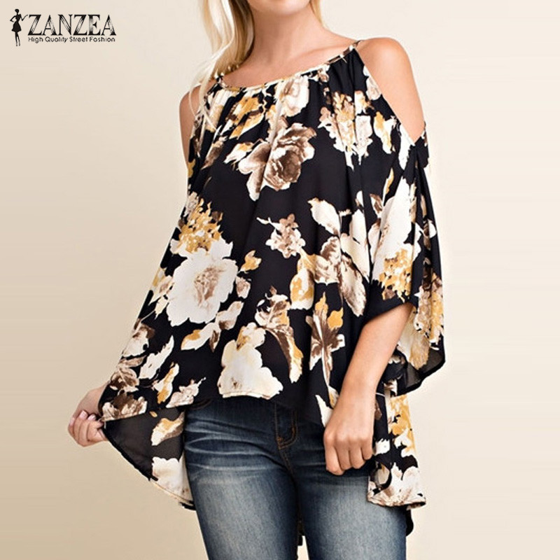 Vintage Floral Print Shirts 2017 ZANZEA Hot Sale Women Blouses Fashion Sexy Shoulder 3/4 Flare Sleeve Blusas Tops Plus Size