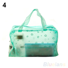 Hot Floral Print Transparent Waterproof Makeup Make up Cosmetic Bag Toiletry Bathing Pouch 1DDE