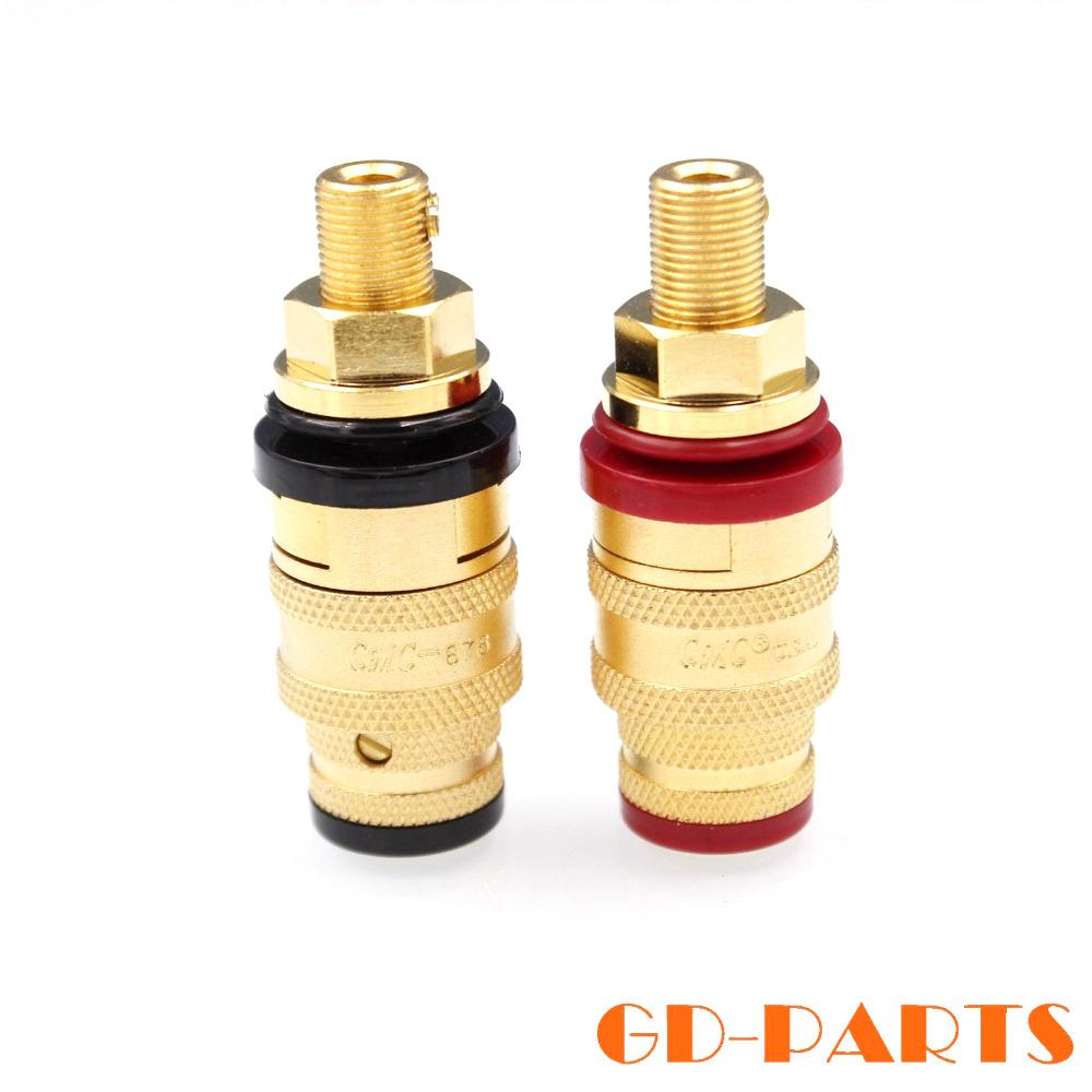 4pcs High End CMC 878M-SE HIFI Audio Speaker Amplifier Binding Post Terminal Banana Plug Socket Connector Gold Plated OFC Brass(China (Mainland))