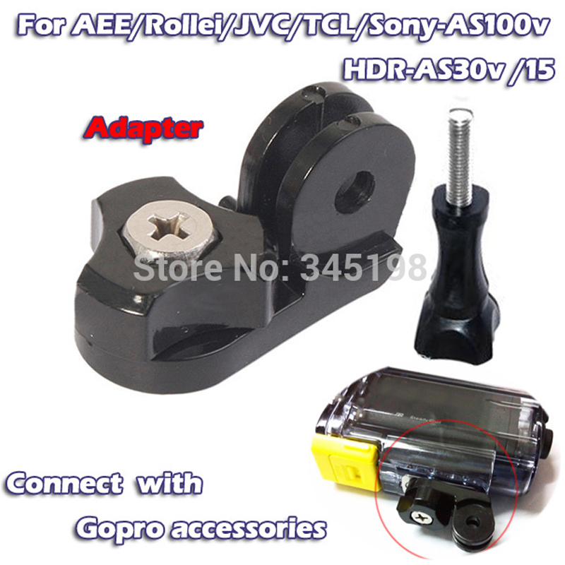 GO PRO Connector Tripod Mount Adapter convert to Gopro SJCAM AEE accessory for Sony HDR-AS100V AS30V Rollei action camera +screw(China (Mainland))