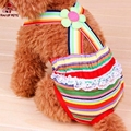 2017 Lovely Rainbow Pattern Sanitary Pants Pet Underwear Diapers Striped Dog Clothers for Pets Dogs Random
