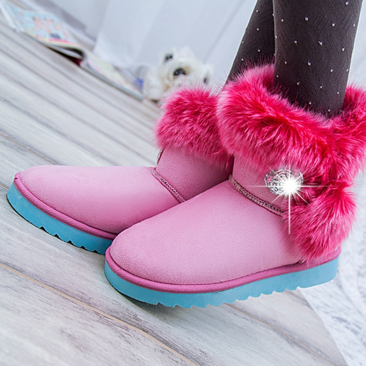 2016 New Winter Snow Boots Leather Women Shoes Low Flat Heels Rhinestone Buckle Comfortable Shoes woman Snow Fashion Boots(China (Mainland))