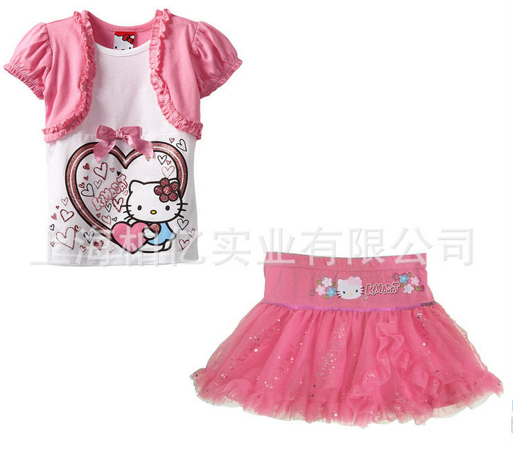 hot selling!! Summer fake two piece Hello Kitty T-shirt +Puff skirt Children Clothing Set Kids Brand Clothes<br><br>Aliexpress