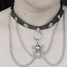 Skull ghost chain  Black leather            vintage choker collar chunky statement necklace women gothic steampunk rock