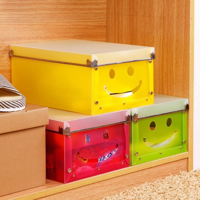Cute candy colored transparent plastic storage box folding smiley thick covered storage shoebox K1788(China (Mainland))