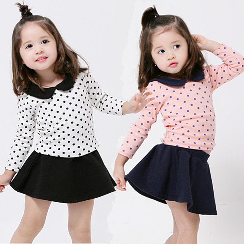 2015 New Minnie Girls Dress Suits Chidlren Set Spring Girl Cotton Long-sleeve Polka Dot Shirt Black Short Skirt Emboitement(China (Mainland))