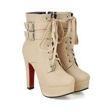 Damen schuhe Frauen stiefel High heels Plattform Schnalle Reißverschluss Nieten Sapatos femininos schnüren lederstiefel Größe 34-43(China)